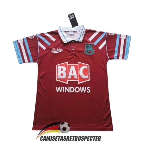 west ham united retro 1991-1992 primera camiseta